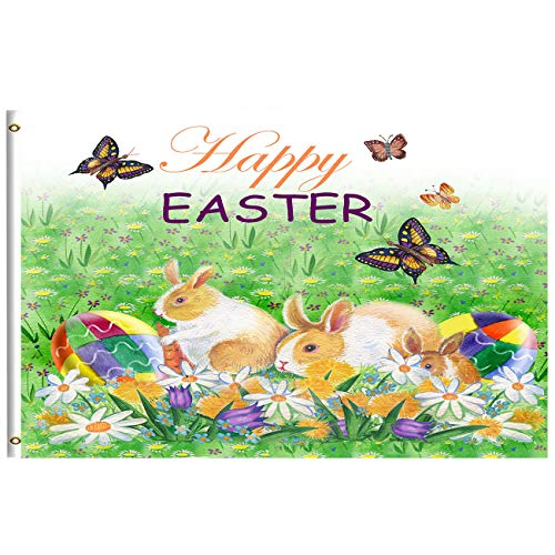 Happy Easter Day Bunny Eggs Basket Lilies Flowers Flag 3x5 Feet with Brass Grommet Wind Side Double Stitch Easter Rabbit Eggs Spring Butterfly Banner Flag Breeze Decorations for Outdoor Home Garden