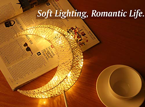 Lewondr Table Lamp, Battery Powered Moon Shape Bedside Light Desk Lamp Christmas LED Decorative Lamp Winding Iron Frame… - Stylish Design: A stylishly designed desk lamp with soft light will bring a dull room to life and bring you a peaceful night! 10 LED beads with warm white light create sweet atmosphere for you to relax yourself at night. There are four available choices for you to meet your demand for personalizing your bedroom, kids' room, study room or living room, etc. Battery powered: Powered by batteries only. This product contains no extra wires, so you can put the lamp at anywhere you want to safely. (AA batteries are not included) Eye Protection: Soft and comfortable, the warm white light of the lamp will create cozy atmosphere for you while warm light is more comfortable for your eyes. No Flickering, No Glaring. - lamps, bedroom-decor, bedroom - 51wBKbGAgeL -