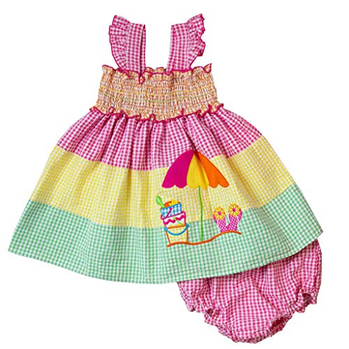 Good Lad Girls Dress - Good Lad Infant Girls Multicolored Tiered Seeruscker Sundress with Beach Scene Applique and Panty (12M) Yellow