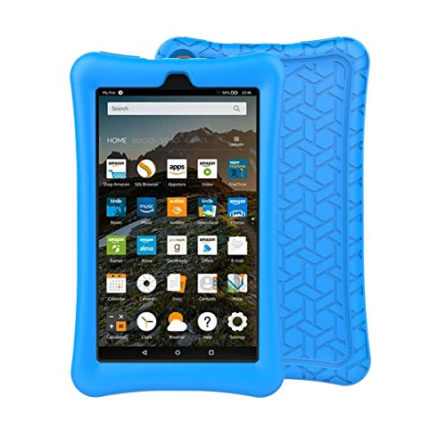 BMOUO Silicone Case for All-New Amazon Fire 7 Tablet (7th and 9th Gen, 2017 and 2019 Release) - Anti Slip Shockproof Light Weight Protective Cover for Fire 7 2019/2017, Blue (Covers Tablet 7 Rca Inch Kids)