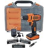 """Furadeira Parafusadeira 3/8"""" bateria 12 volts com maleta + 31 acessórios - LD12SC - Black + Decker (110V/220V)"""