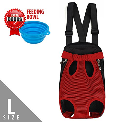 [Upgrade the Sizing Chart] Legs Out Front Pet Dog Carrier Backpack with Tail Hole | HandsFree Traveling Dog Cat Pet Bag for Hiking Camping with Adjustable Strap and Inner Collar | Machine Washable