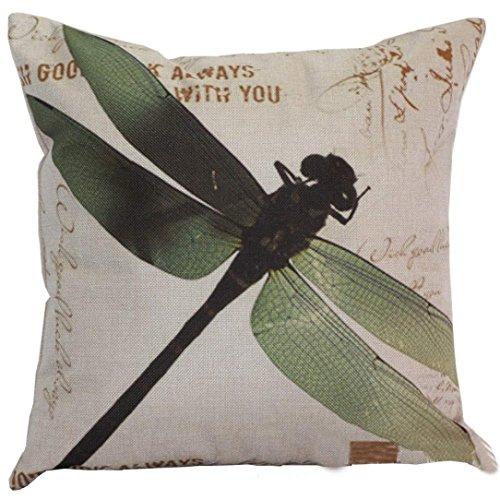Meyerlbama Pillow Cases Dragonfly Sofa Bed Home Decor Pillow Sham Cushion Cover Square Retro Pillowslip (GREEN, S)