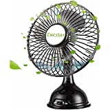 Lucstar Table Retro Desk Fan USB Powered Desktop Personal Elegance Pedestal, Adjustable Small Metal Quiet Fan for Office Work, Outdoor,Home, Portable Vintage 4inch Strong Cooler Laptop-Black