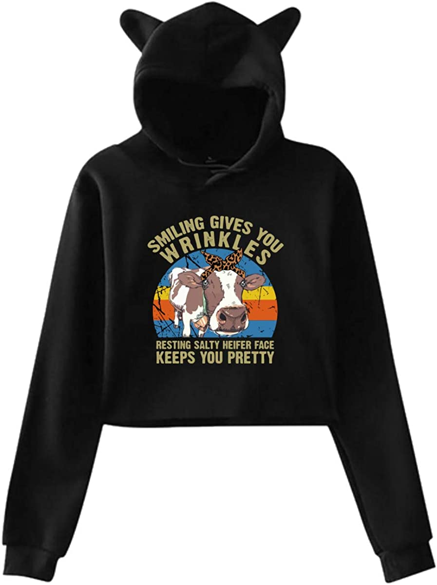 Smiling Gives You Wrinkles Cat Ear//Unicorn Cropped Pullover Fleece for Women Teen Girls