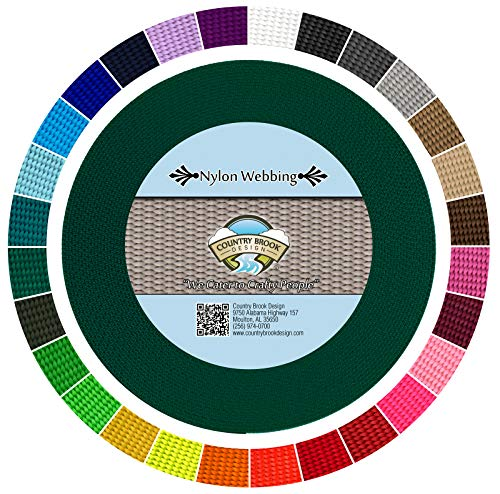 - Country Brook Design - Durable 1 Inch Heavy Nylon Webbing - 29 Vibrant Colors (Green, 10 Yards)