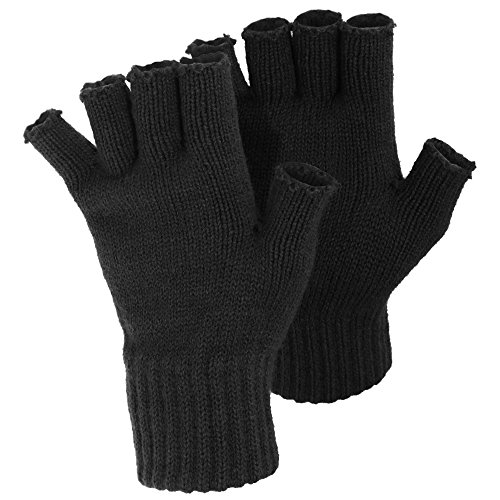 FLOSO Ladies/Womens Winter Fingerless Gloves (One Size) (Black) (Ladies Gloves Fingerless)