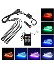 Car LED Strip Light,Uniwit 4 Pieces DC 12V Multicolor Car Interior Music Light LED Underdash Lighting Kit with Sound Active Function and Wireless Remote Control Including Car Charger