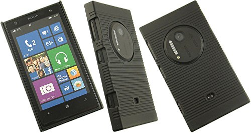 BLACK RUBBERIZED HARD CASE COVER BELT CLIP HOLSTER STAND FOR NOKIA LUMIA 1020 Photo #9