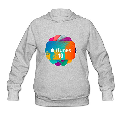 Bekey Women's Apple ITunes Hoodie Sweatshirt Size M Ash