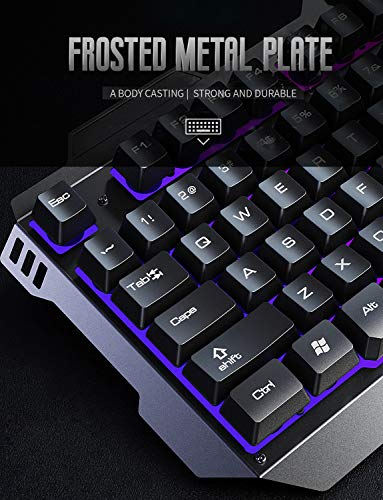 INPHIC V680 Wired Gaming Keyboard with Mouse Combos, 104 Keys LED Rainbow RGB Backlit Keyboards, Durable Metal Structure, Mechanical Feeling, 6 Button RGB Mouse for PC Gamer Computer Laptop 51wBLm9COQL
