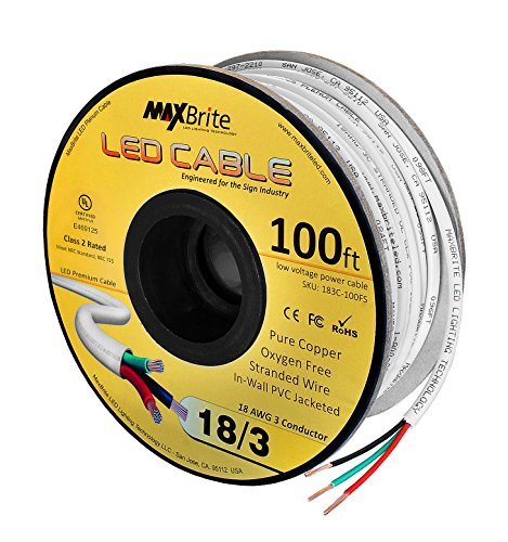18AWG Low Voltage LED Cable 3 Conductor Jacketed In-Wall Speaker Wire UL/cUL Class 2 (100 ft reel)