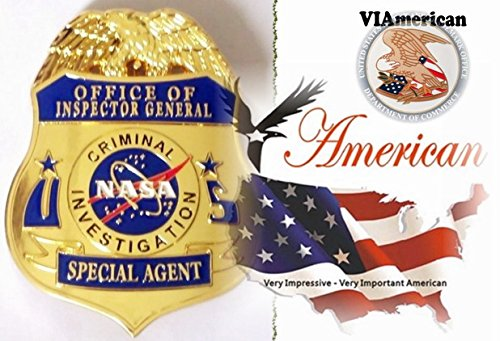 VIAmerican - Special Gold Office of Inspector General Badge with Pin back and Branded Leather Holder *We pay tribute to those who strive to Keep us and our Family Safe and live in Peace