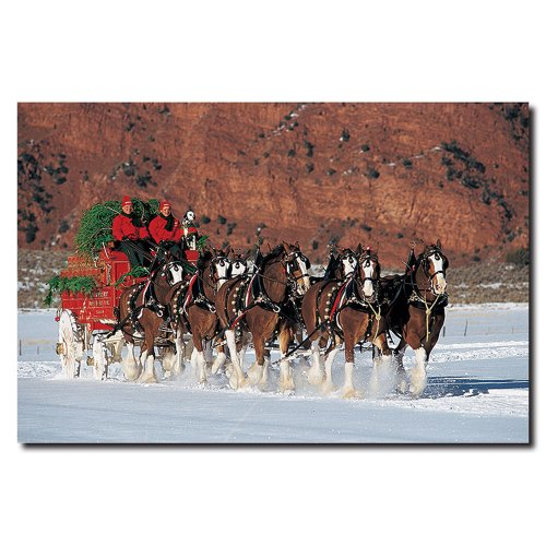 Clydesdales in Snow with Carriage and Christmas Tree by Budweiser, 16x24-Inch Canvas Wall Art