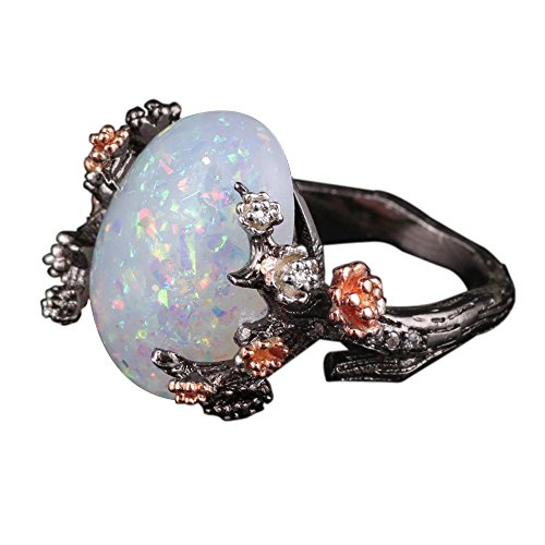 (HIRIRI Jewelry Sparkling Accessories Wedding Engagement Anniversary Opal Ring Gold Diamond Gem)