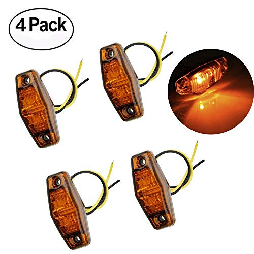 Haichen Pack of 4, 2 LED Amber Waterproof Front Side Marker Light for Car SUV Truck Trailer RV 12V/24V, Clearance light Rear Indicator Lamp: