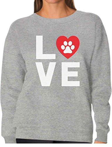 Animal Lover Dog Paw Print - Love Dogs My Best Friend Women Sweatshirt Medium Gray ()