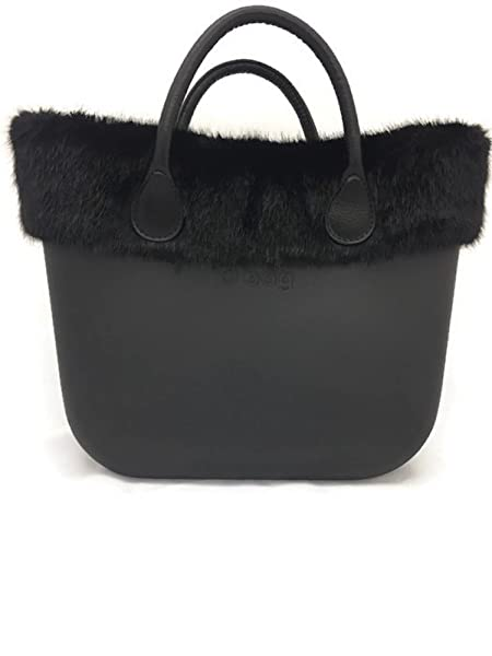 3e6b8cd7aff ... brand new eeabe b12b1 Italian O Bag Classic Black with Mink Faux Fur  and Short Black ...