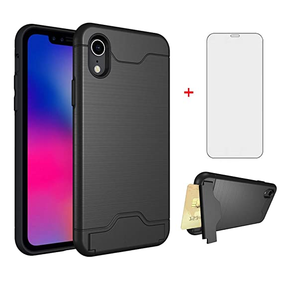 timeless design f4a1b a32af Phone Case for Apple iPhone XR with Tempered Glass Screen Protector Cover  Credit Card Holder Wallet Cell Accessories Stand Kickstand Protective ...