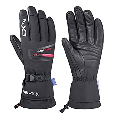 EXski Waterproof Windproof Men's Winter Ski Snowboard Snow Motorcycle Goat Skin Leather Palm Warm Gloves Extreme Cold Weather 150 Grams 3M Thinsulate Insulation