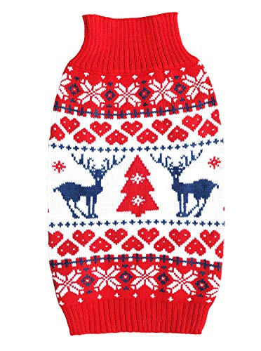 E&L Christmas Holiday Classic Pet Dog Apparel Clothes, Winter Dog Warm Sweater, Festive Dog Sweater