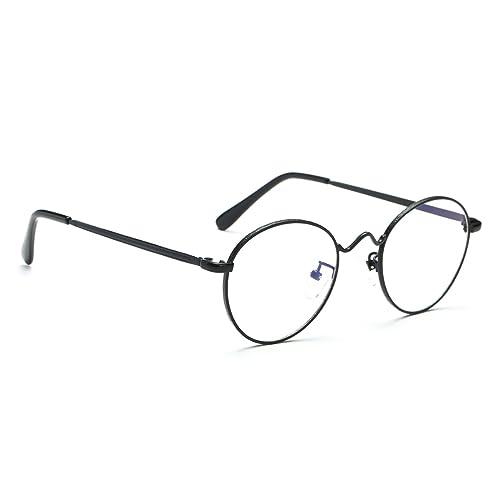 Cyxus moda tondo telaio [trasparente lente] retrò classico occhiali Nero Telaio