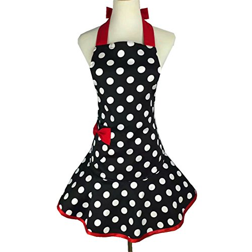 men Girs with Pocket,Black White Polka Dot Ruffle Original Apron Retro Sexy Apron Kitchen Cooking Christmas (Vintage Style Apron Patterns)