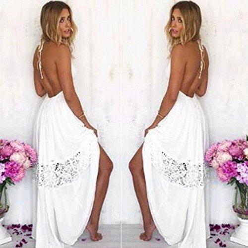 Ouneed Mujer bohemio largo Maxi noche vestido de fiesta de playa Blanco