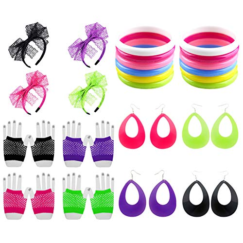 Icevog 80s Costume Accessories Set 90s Fancy Outfit for Disco Party Lace Headbands Fishnet Gloves Candy Neon Earrings Bracelet -