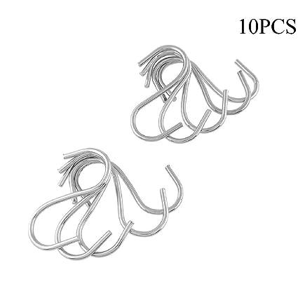 10pcs Stainless S Shaped Hooks Kitchen Hanging Hanger Storage Holders Organizer