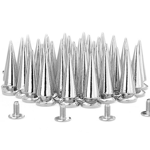 (RUBYCA 25MM 50 Sets Large Metal Big Tree Spikes and Studs Metallic Screw-Back for DIY Leather-craft Silver Color)