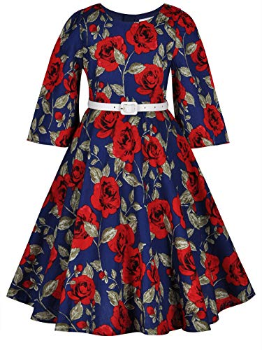 Bonny Billy Little Girls Dresses for Baby Party Clothing with Belt 3-4 Years Floral Red -