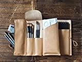 Leather Sketch Book Case - Art Supply Organizer, Pencil Case, Brush Tool Case, Custom, personalized Journal #Natural Nude