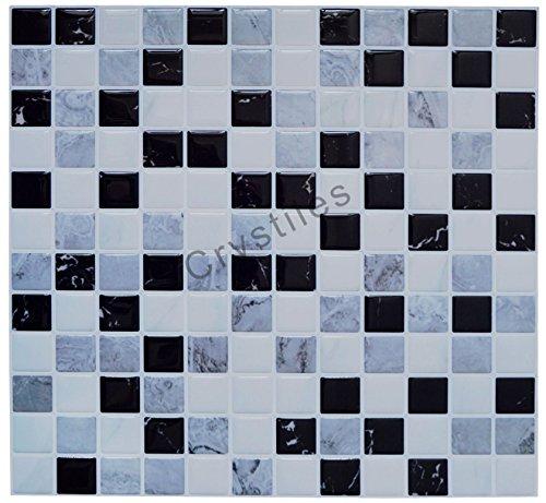 "Crystiles peel and stick DIY backsplash tile stick-on vinyl wall tile, perfect backsplash idea for kitchen and bathroom décor projects, Item #91010850, 10"" X 10"" each, 6 sheets pack"