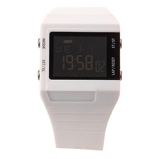 Eton 2818J-WT - Reloj digital de cuarzo para hombre con correa de plástico, color blanco: Amazon.es: Relojes