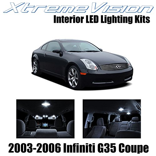 XtremeVision Interior LED for Inifiniti G35 Coupe 2003-2006 (12 Pieces) Pure White Interior LED Kit + Installation Tool ()