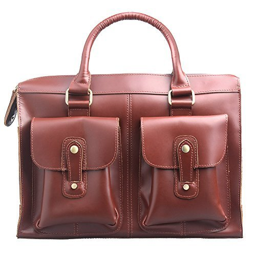 AYOUYA Full Genuine Leather Messenger Bags for Men, Men's Laptop Tablet Lawyer Briefcase, Multi Sizes, Brown