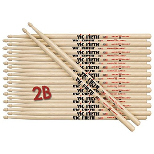 12 Pairs of Vic Firth 2B Wood Tip American Classic Hickory Drumsticks ()