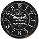 Vintage Powder Room Black Wall Clock, Available in 8 Sizes, Most Sizes Ship 2-3 Days, Whisper Quiet.