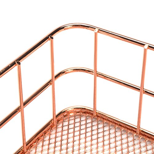 Caveen Modern Copper Rose Gold Wire Mesh Basket Storage Office Bedroom Bathroom Rose Gold medium Photo #7