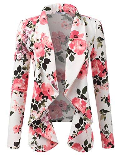 Doublju Classic Draped Open Front Blazer for Women with Plus Size FLORALPINK 2XL
