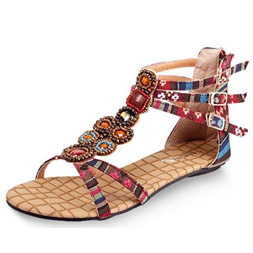 Ouneed® Damen böhmische Art Reißverschluss Ebene Schuhe Kederleiste beiläufige geöffnete Zehe Sandalen Flip Flops Damen Erwachsene Zehentrenner (38, Rot)