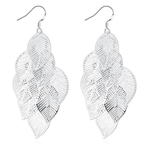 Leaves Earrings Women 925 Silver Plated Fashion Jewelry - Fashion Lf