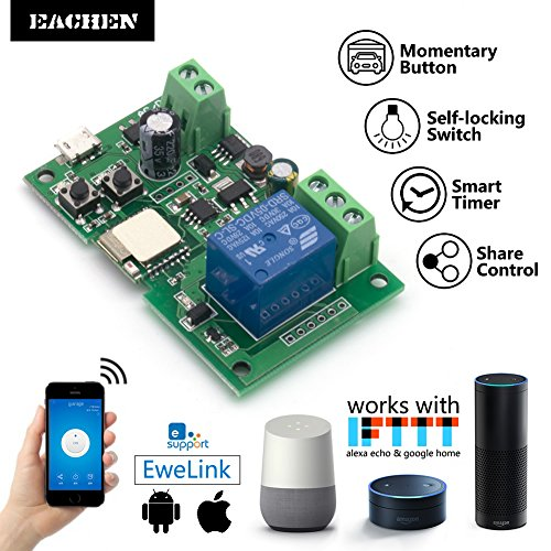 EACHEN WiFi Wireless Inching Relay Monentary/Self-locking Switch Module DIY Smart Home Remote Control DC 5-32V AC90-260V Ewelink App Compatible With Alexa Echo Google home Nest IFTTT SONOFF (ST-DC1)