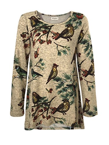 LaVieLente Ultra Soft Long Sleeve Jersey Knit top with hi-Low Design and Oversized fit in Dinosaur and Other Patterns (Multicolour, X-Large/XX-Large)