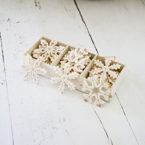 Wooden Snowflakes for Christmas Tree Decoration Cream and Gold by Lights4fun