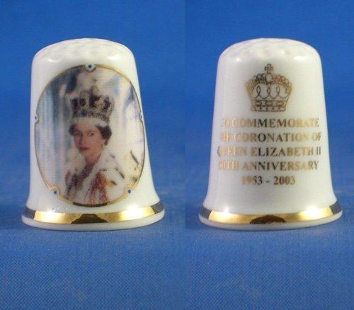 Porcelain China Thimble -- H M Queen Elizabeth Coronation Birchcroft China