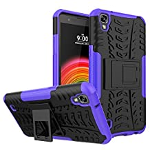 LG X Power Case, Asstar [Dual Layer] Hybrid Shock Proof Protective Duty Rugged Hard Back Shell With Kickstand Durable Anti-Slip Protective Case for LG X Power (Purple)