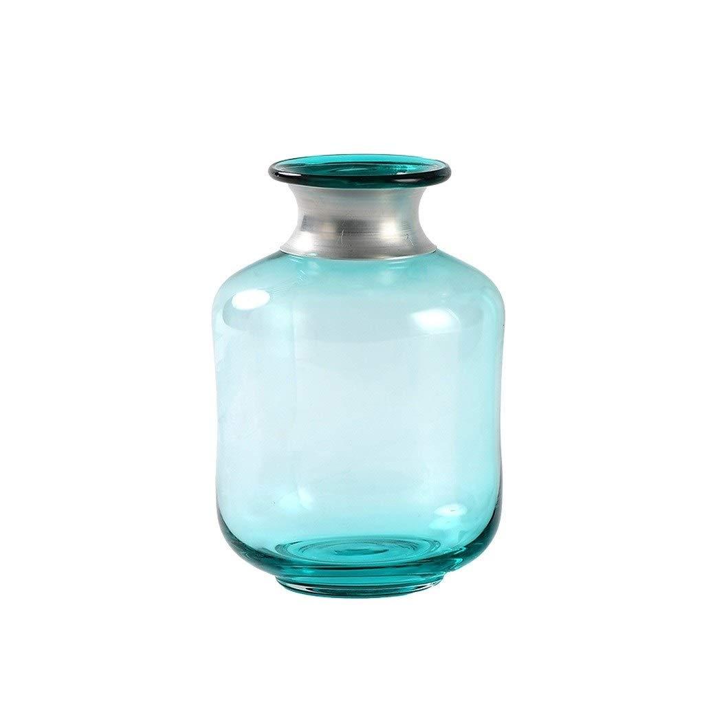 ガラス花瓶 円柱はTVのキャビネットのテーブルで銀製のブラシをかけられたボトルネックを使用できます (Size : 22*15cm) B07T5KYJQ6  22*15cm