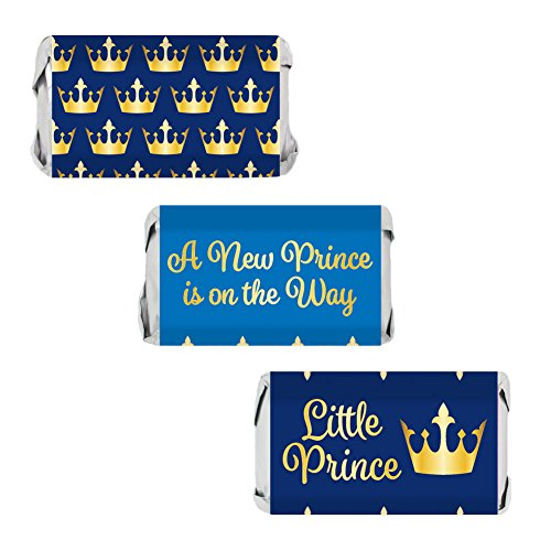 Little Prince Royal Baby Shower Miniatures Candy Bar Wrapper Stickers (54 Count)